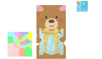 プレゼントを持つクマ